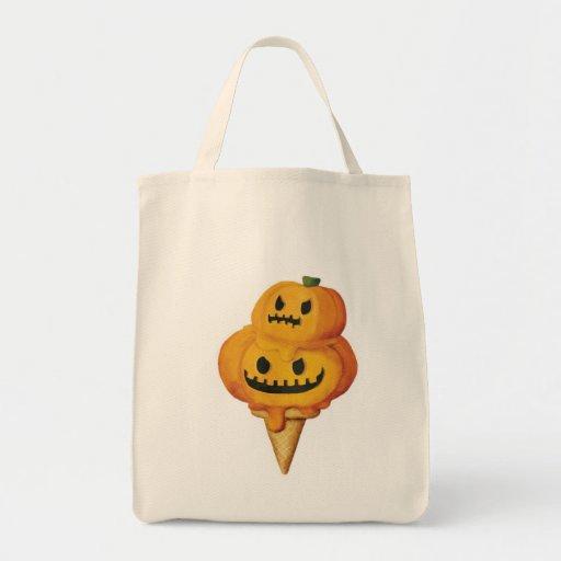 Cono de helado de la calabaza de Halloween Bolsa Tela Para La Compra