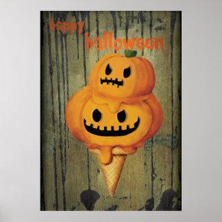 Cono de helado de la calabaza de Halloween Poster