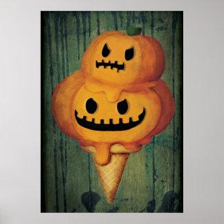 Cono de helado de la calabaza de Halloween Posters