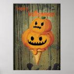 Cono de helado de la calabaza de Halloween Póster