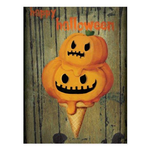Cono de helado de la calabaza de Halloween Tarjetas Postales