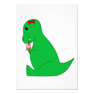 """Cono de helado de T-Rex Invitación 5"""" X 7"""""""