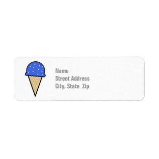 Cono de helado del azul real etiqueta de remite