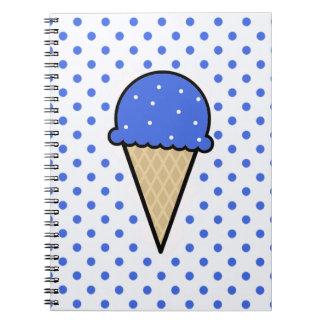 Cono de helado del azul real libreta