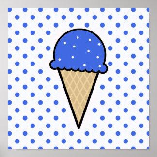 Cono de helado del azul real póster