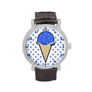 Cono de helado del azul real reloj de mano