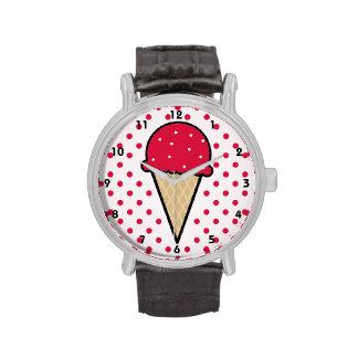 Cono de helado del rojo carmesí relojes