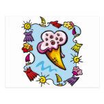 Cono de helado del verano tarjetas postales