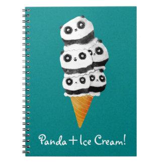Cono de helado dulce del oso de panda libro de apuntes con espiral