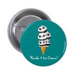 Cono de helado dulce del oso de panda pin redondo de 2 pulgadas