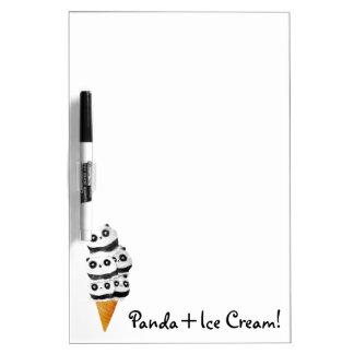 Cono de helado dulce del oso de panda pizarras blancas de calidad