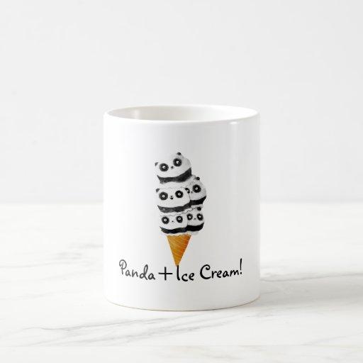 Cono de helado dulce del oso de panda taza básica blanca