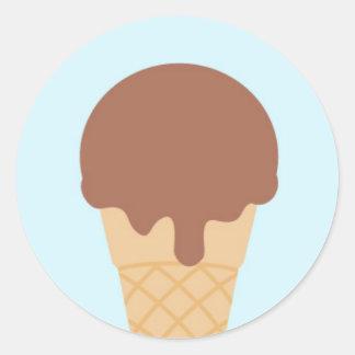 Cono de helado dulce pegatina redonda