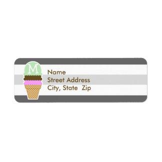 Cono de helado en rayas horizontales grises oscuro etiquetas de remite