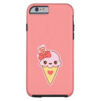 Cono de helado feliz de fresa de Kawaii Funda De iPhone 6 Tough