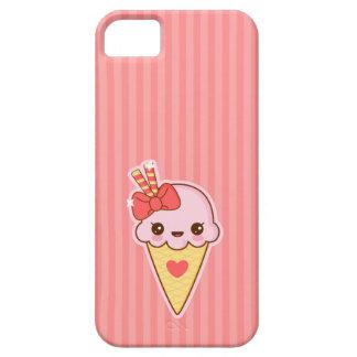 Cono de helado feliz de fresa de Kawaii iPhone 5 Funda