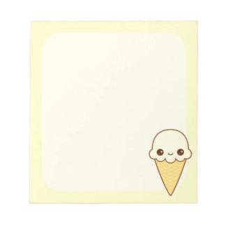 Cono de helado feliz de vainilla de Kawaii Bloc De Notas