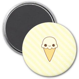 Cono de helado feliz de vainilla de Kawaii Imanes Para Frigoríficos
