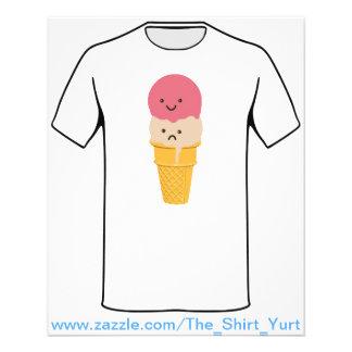 Cono de helado feliz y triste tarjeta publicitaria