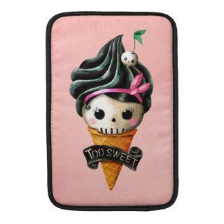 Cono de helado femenino del cráneo fundas para macbook air