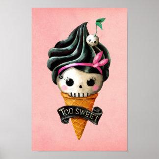Cono de helado femenino del cráneo poster