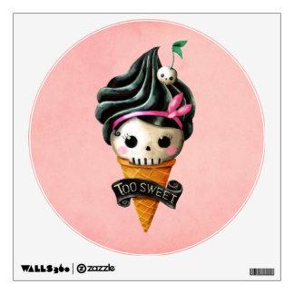Cono de helado femenino del cráneo vinilo decorativo