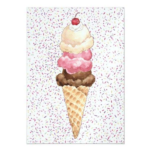 """Cono de helado invitación 5"""" x 7"""""""