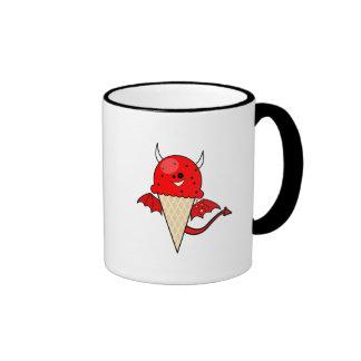 cono de helado lindo del diablo del kawaii con las tazas