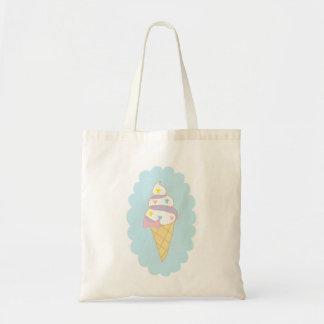 Cono de helado lindo del remolino bolsa tela barata