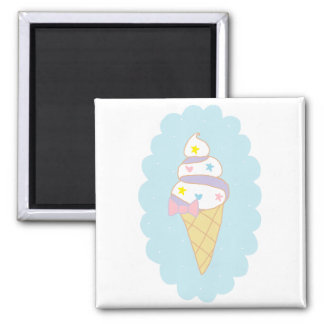 Cono de helado lindo del remolino imanes para frigoríficos