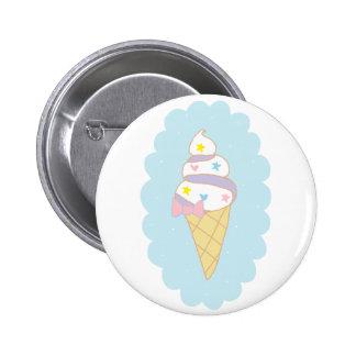 Cono de helado lindo del remolino pin redondo de 2 pulgadas