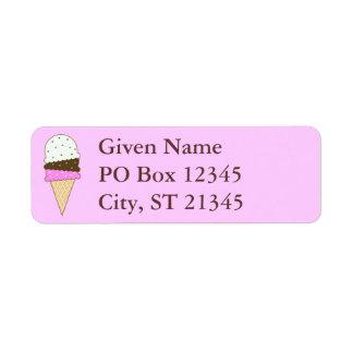 Cono de helado napolitano etiqueta de remite