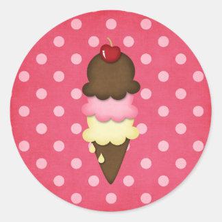 cono de helado pegatina redonda