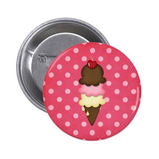cono de helado pin redondo de 2 pulgadas