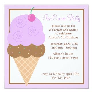 """Cono de helado púrpura de la uva invitación 5.25"""" x 5.25"""""""
