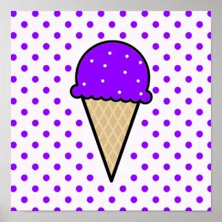 Cono de helado púrpura violeta posters