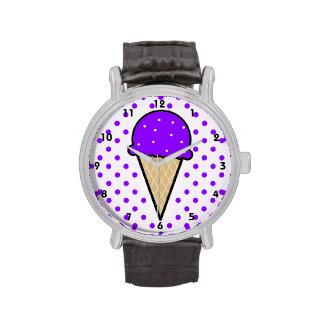 Cono de helado púrpura violeta relojes de pulsera