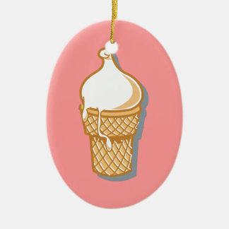 cono de helado retro adorno navideño ovalado de cerámica