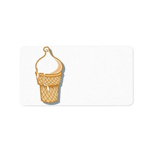 cono de helado retro etiqueta de dirección