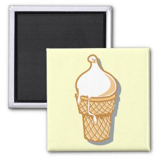 cono de helado retro imán cuadrado