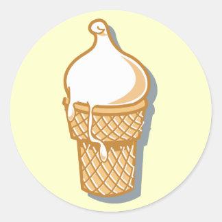cono de helado retro pegatina redonda