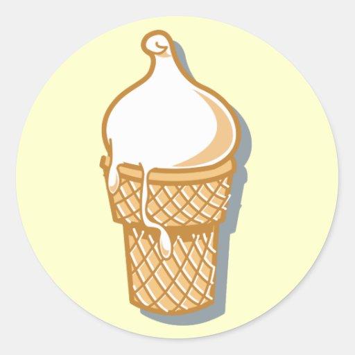 cono de helado retro etiqueta redonda