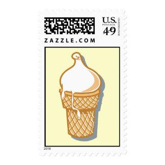 cono de helado retro timbre postal