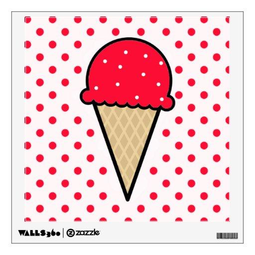Cono de helado rojo del escarlata