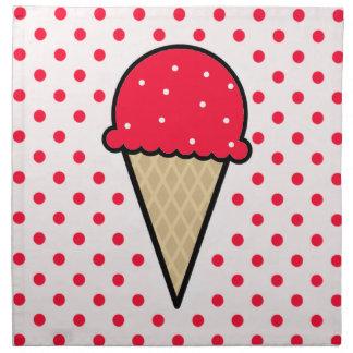 Cono de helado rojo del escarlata servilleta