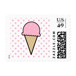 Cono de helado rosa claro sello