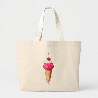 Cono de helado rosado con una cereza en el top bolsa tela grande