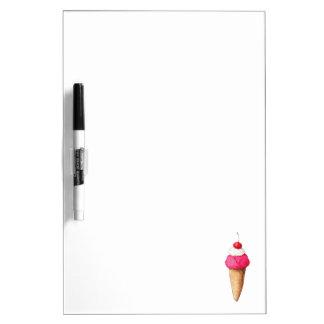 Cono de helado rosado con una cereza en el top pizarras blancas