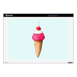 Cono de helado rosado con una cereza en el top skins para 43,2cm portátil
