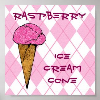 Cono de helado rosado de Argyle y de la frambuesa Póster